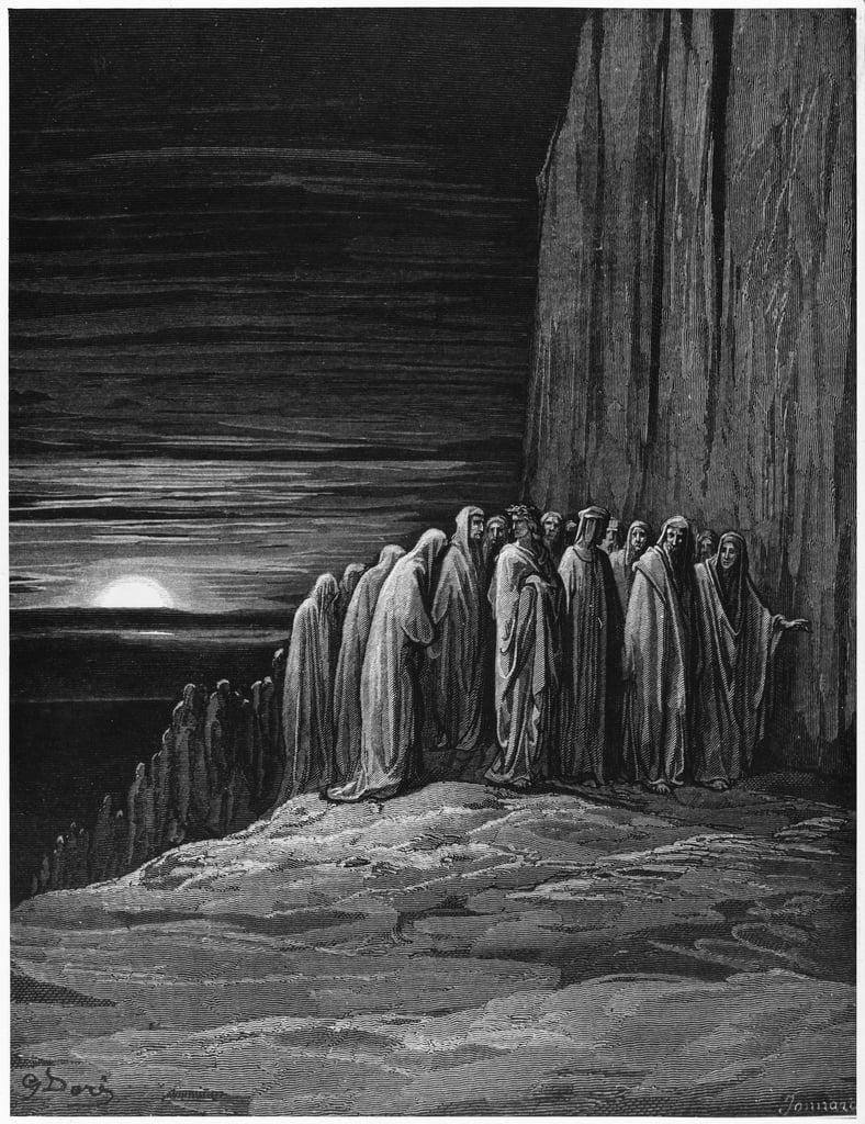 Virgil (70-19 BC) and Dante, illustration from