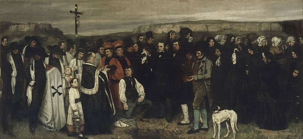 A Burial at Ornans A Painting of Human Figures, the History of a Burial at Ornans, 1849-1850 by Gustave Courbet