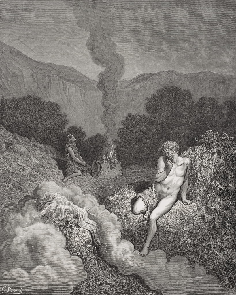 Cain and Abel Offering Their Sacrifices, illustration from Dore