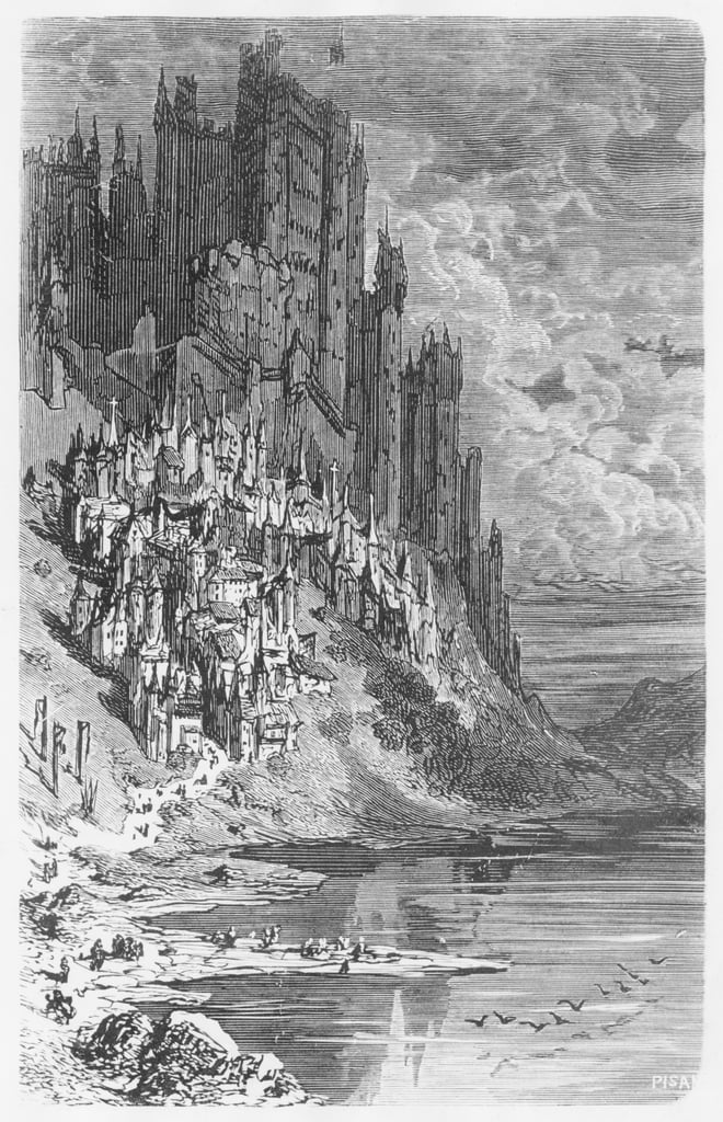 Fantasy landscape with town and castle, illustration from