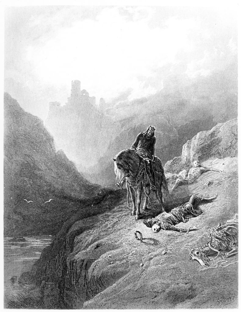 King Arthur discovers the Skeletons of the Brothers, illustration from