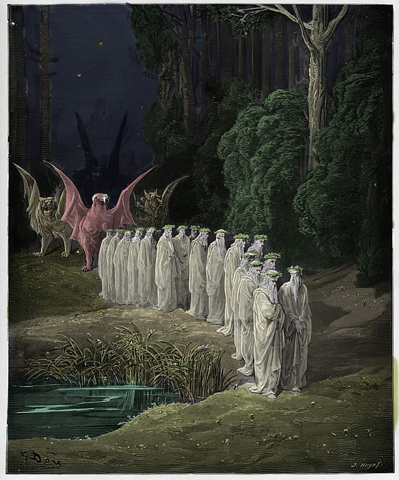 "Purgatorio, Canto 29 : The 24 elders in the apocalyptic procession , illustration from ""The Divine Comedy"" by Dante Alighieri, 1885  by Gustave Dore"