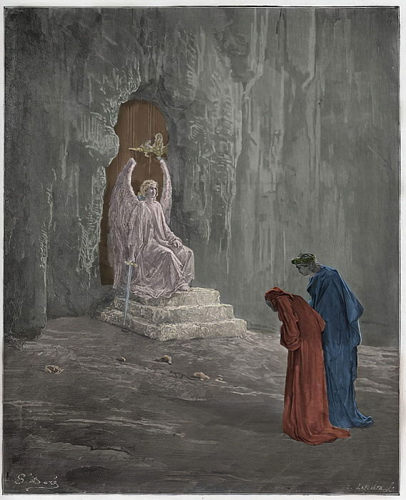 "Purgatorio, Canto 9 : Dante and Virgil at the portals of Purgatory, illustration from ""The Divine Comedy"" by Dante Alighieri, 1885  by Gustave Dore"