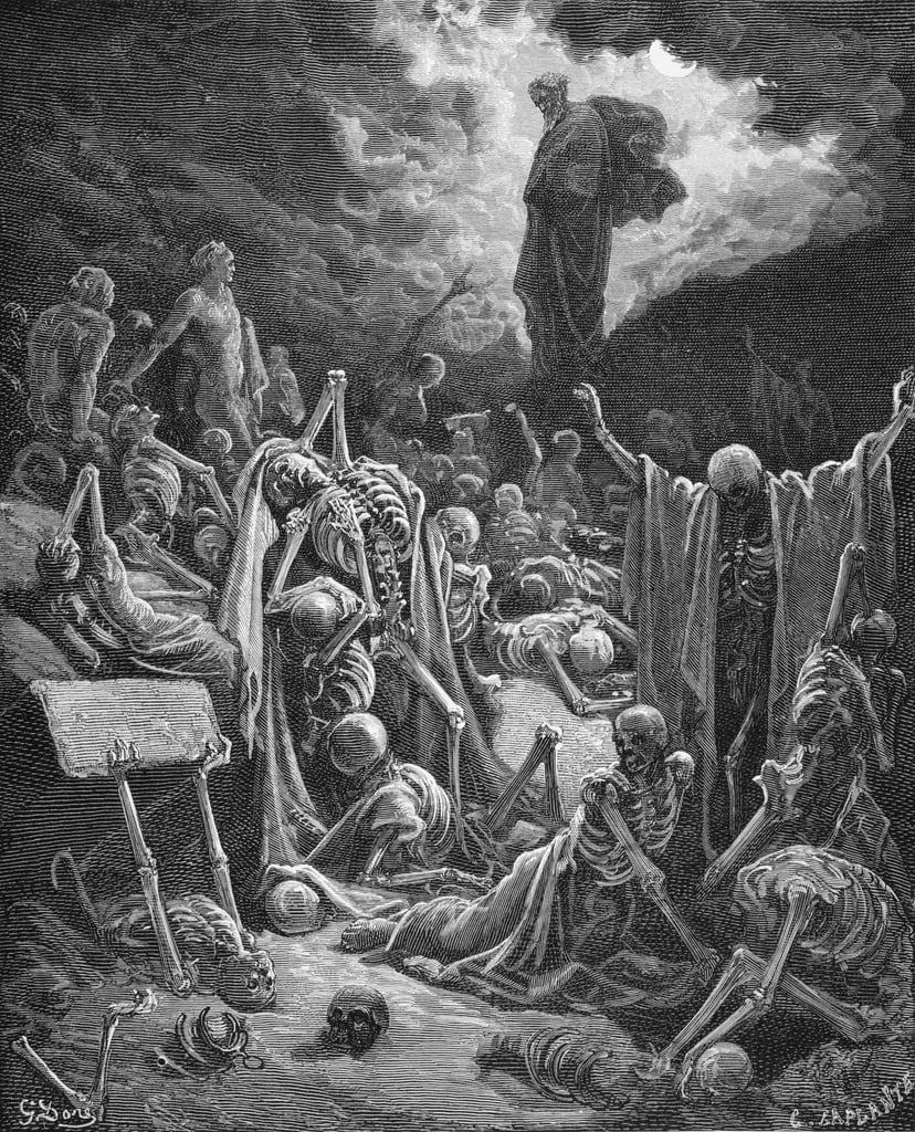 The Vision of the Valley of Dry Bones, Ezekiel 37:1-2, illustration from Dore