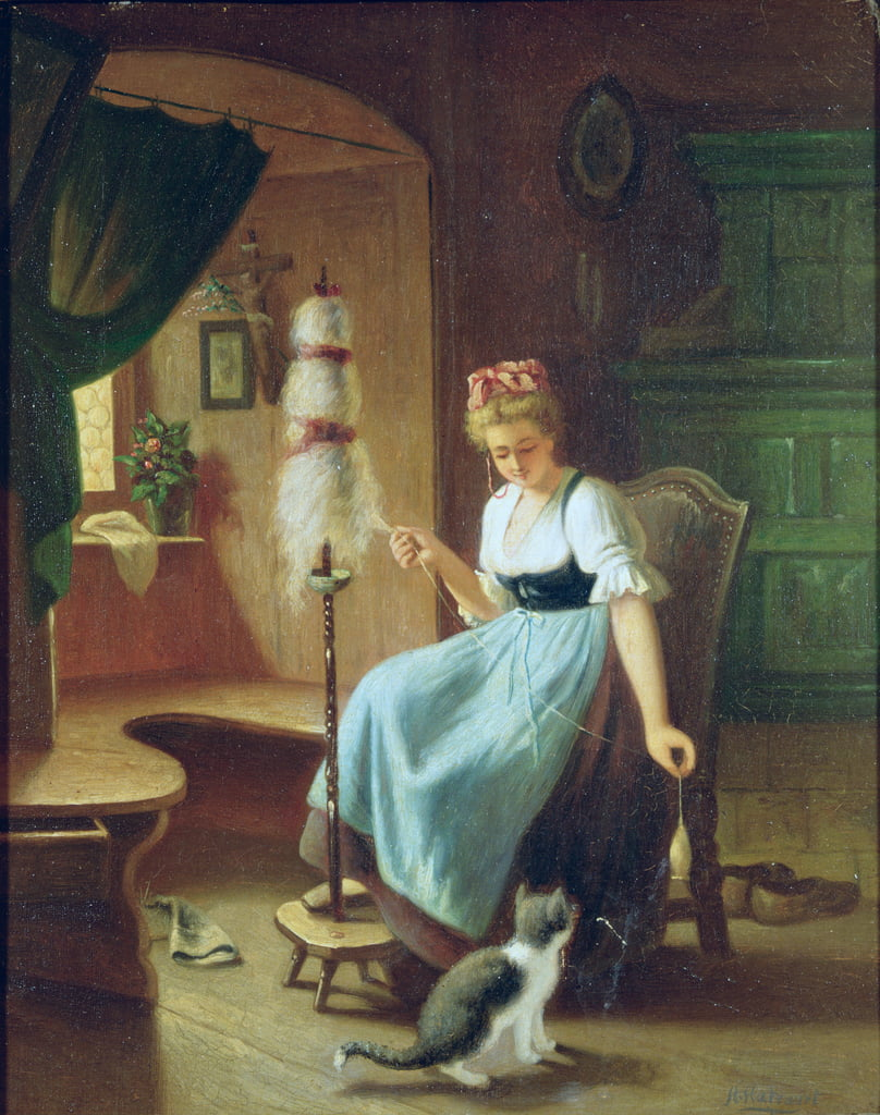Girl at a Spinning Wheel by H Harcourt