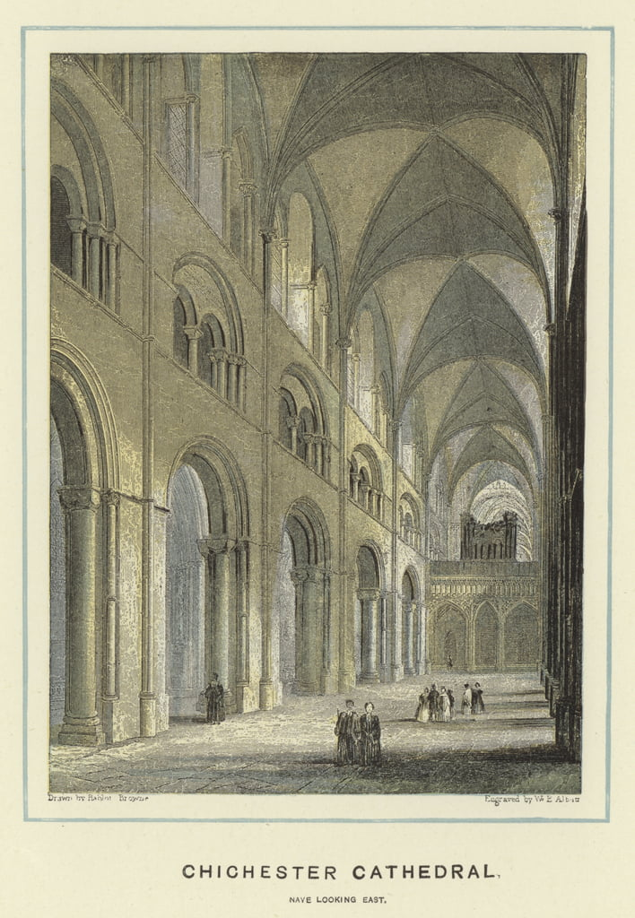 Chichester Cathedral, nave looking east  by Hablot Knight Browne