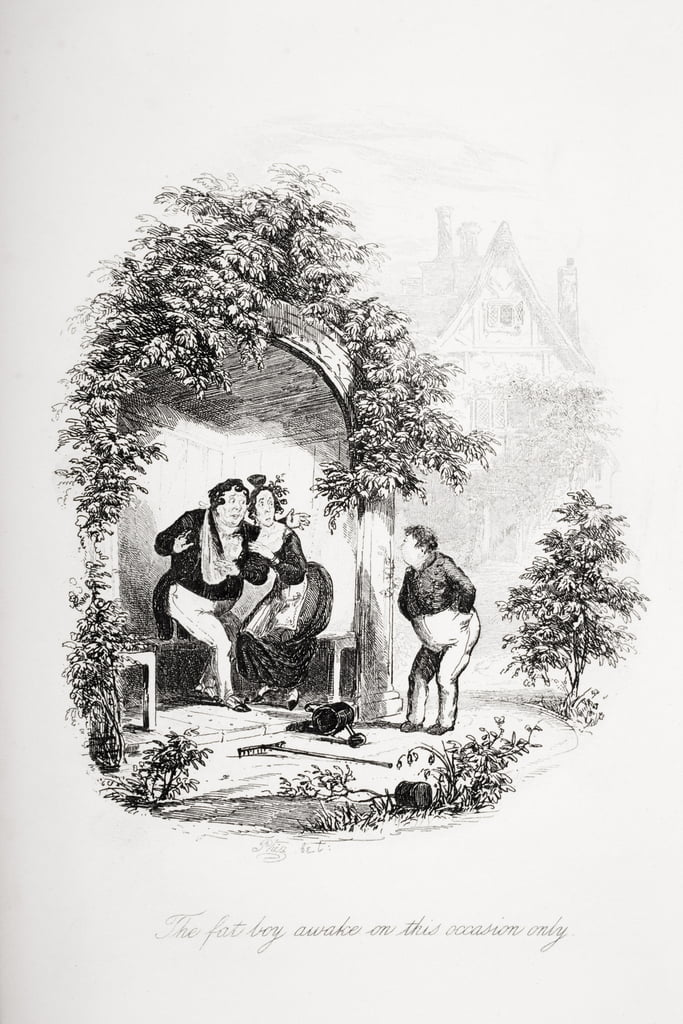The fat boy awake on this occasion only, illustration from `The Pickwick Papers