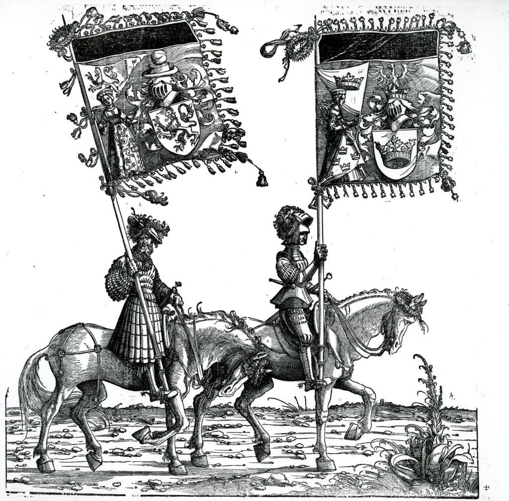 Two Knights, from the Triumphal Procession of the Emperor Maximilian I, c.1517  by Hans Burgkmair