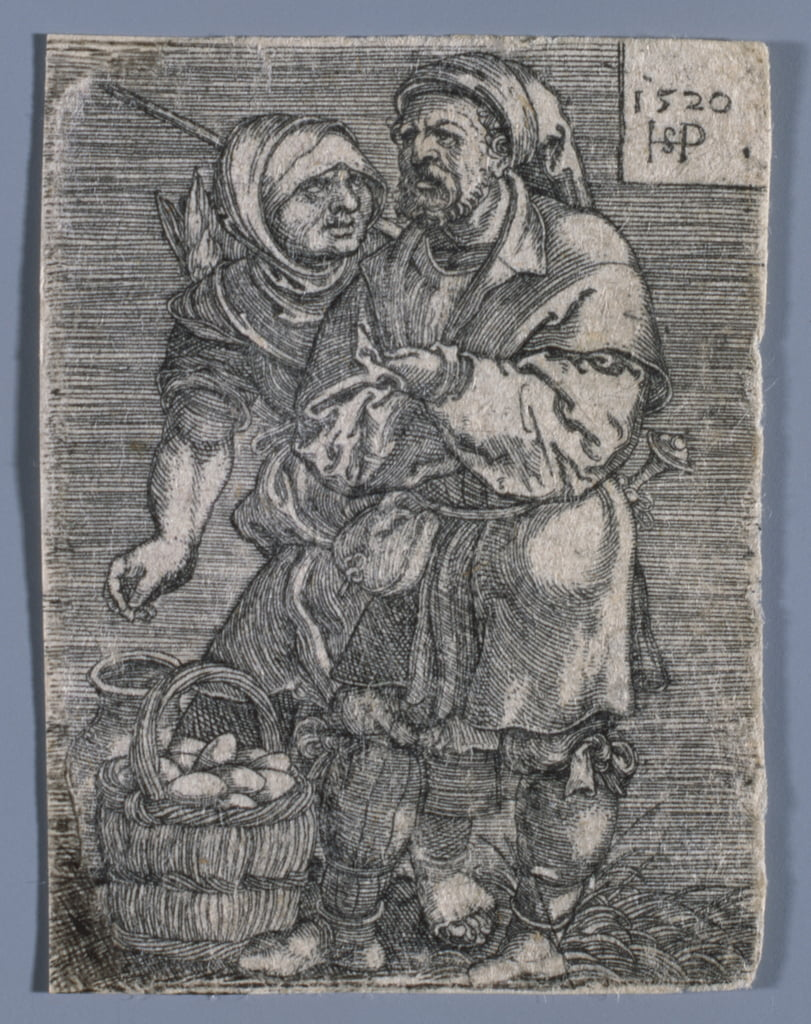A farmer and his wife selling eggs, 1520  by Hans Sebald Beham