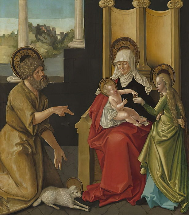 Saint Anne with the Christ Child, the Virgin, and Saint John the Baptist, c.1511 (oil on hardboard transferred from panel) by Hans Baldung Grien