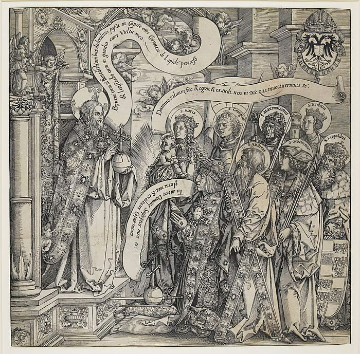 Maximilian Presented by his Patron Saints to the Almighty, 1519  by Hans Springinklee