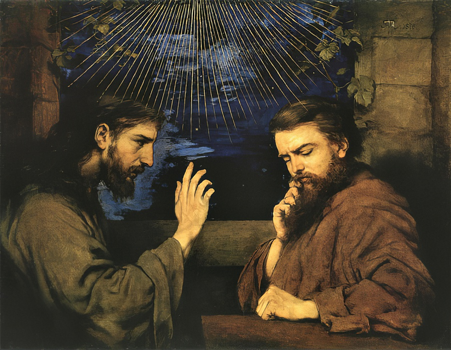 Christ and Nicodemus by Hans Thoma