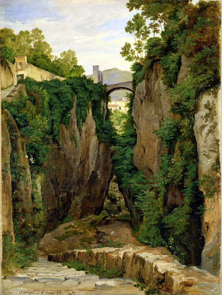 Rocky Ravine at Sorrento, 1823 (oil on paper on canvas) by Heinrich Reinhold