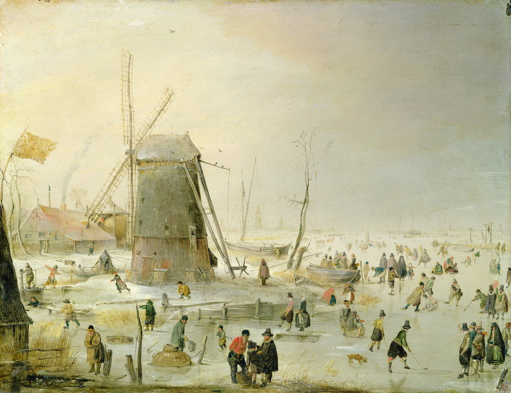 A winter scene with skaters by a windmill by Hendrick Avercamp