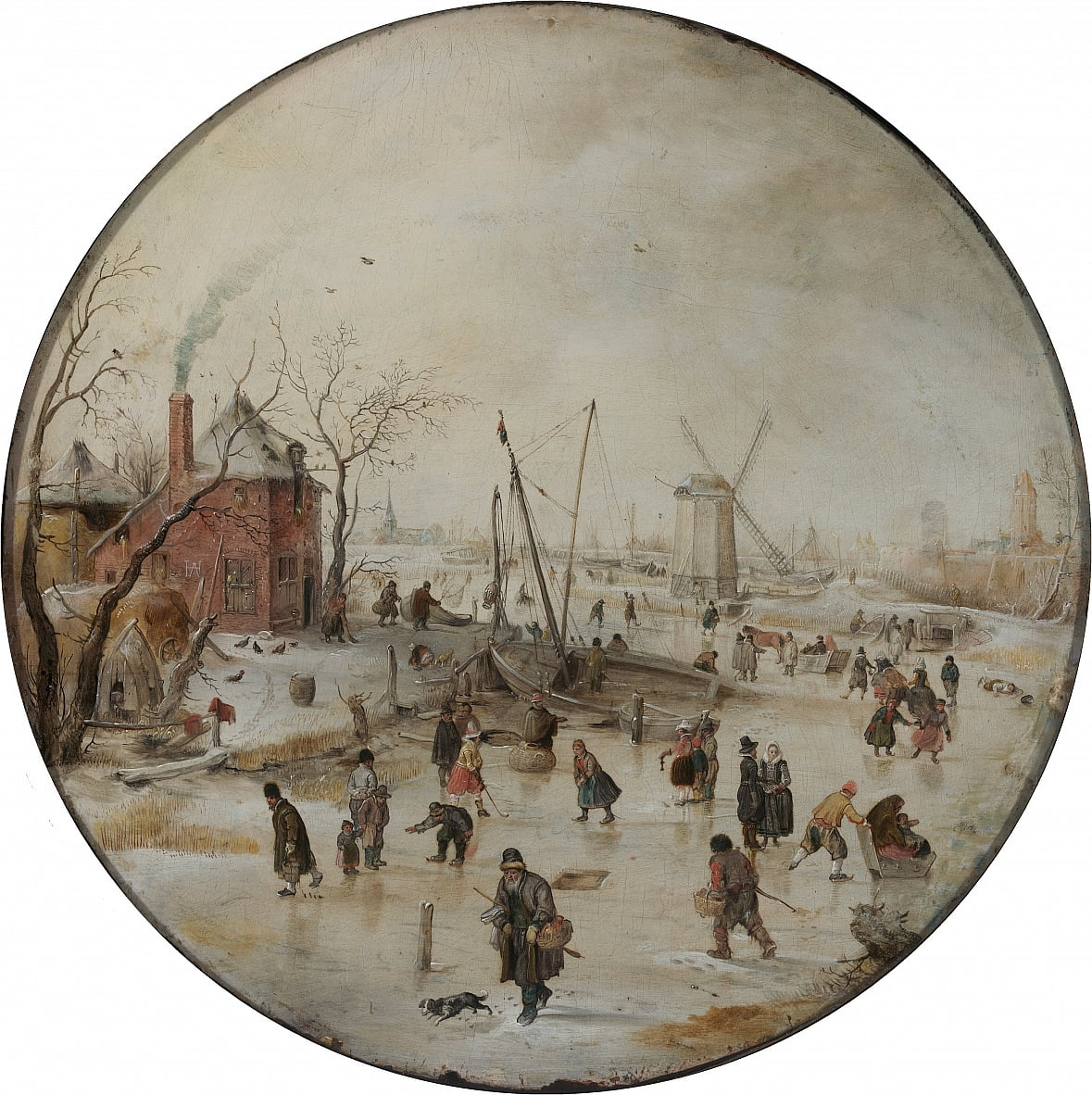 Frozen River with Skaters by Hendrick Avercamp