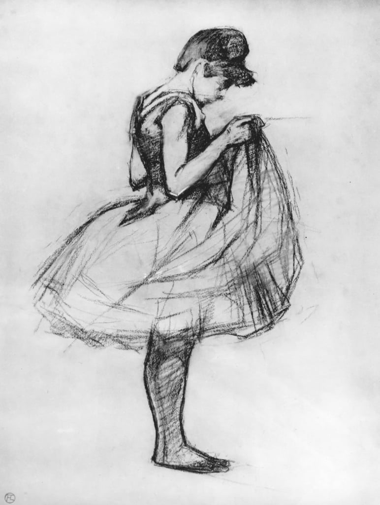 Dancer adjusting her costume and hitching up her skirt, 1889 (charcoal on paper) by Henri de Toulouse Lautrec