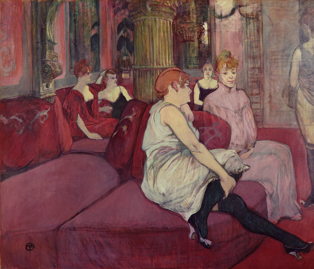 In the Salon at the Rue des Moulins, 1894 (charcoal und oil on canvas) by Henri de Toulouse Lautrec