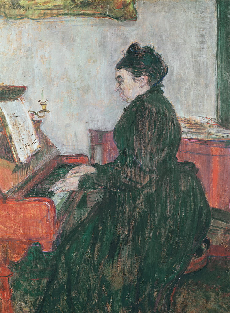 Madame Pascal at the piano in the salon of the Chateau de Malrome, 1895  by Henri de Toulouse Lautrec