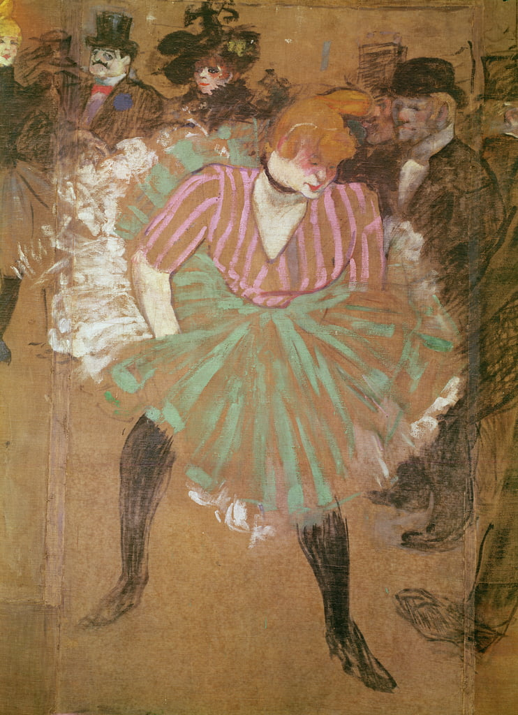Panneaux pour la baraque de la Goulue, é la foire du Tréne é Paris. The Dance at the Moulin-Rouge: la Goulue (Louise Weber), 1895  by Henri de Toulouse Lautrec