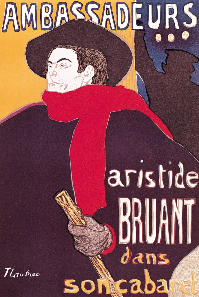 Poster advertising Aristide Bruant (1851-1925) in his cabaret at the Ambassadeurs, 1892  by Henri de Toulouse Lautrec
