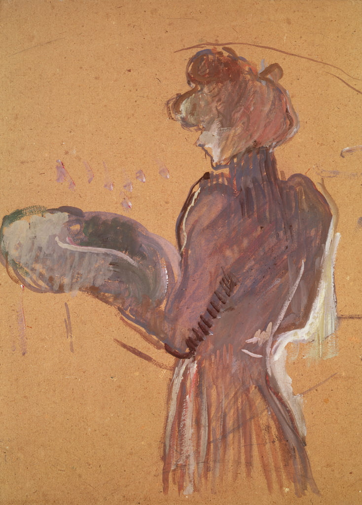 Young woman holding a hat (oil and pastel on paper) by Henri de Toulouse Lautrec