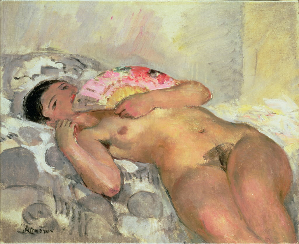 Nude Woman with a Fan  by Henri Lebasque