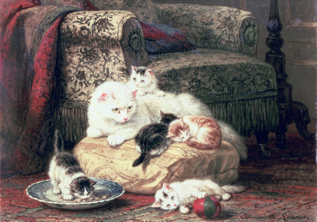 Cat with her Kittens on a Cushion  by Henriëtte Ronner Knip