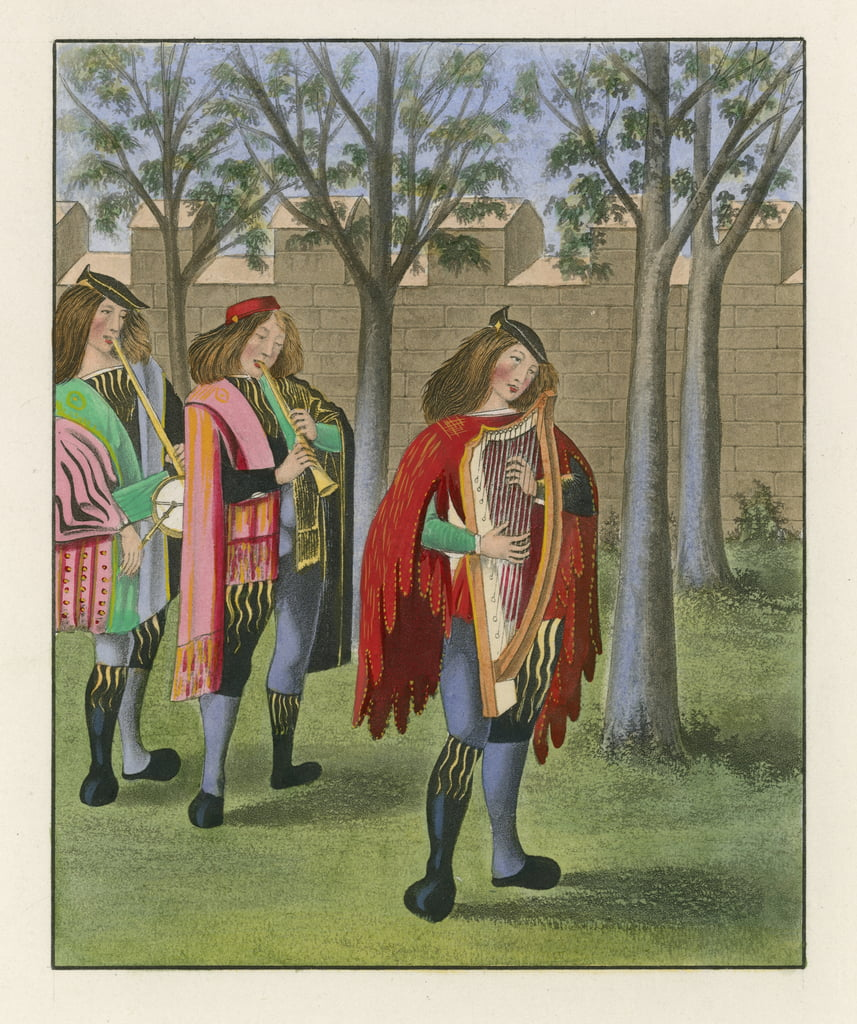 Minstrels, c 1480 by Henry Shaw