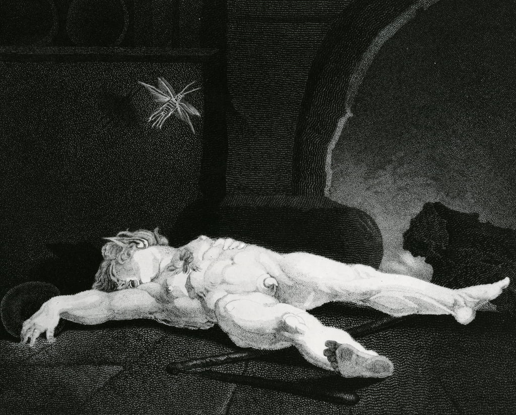 Puck Basking Asleep Before the Country Hearth, engraved by Moses Haughton Jr.  by Henry Fuseli