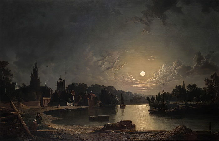 Twickenham by Moonlight, 1835  by Henry Pether