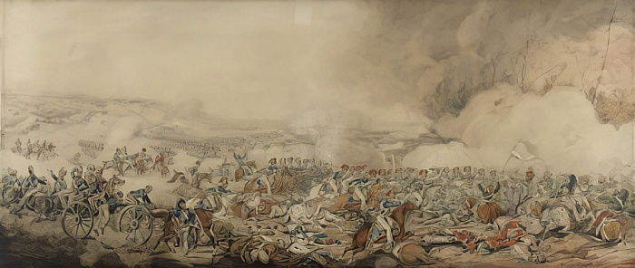 The Battle of Waterloo, 18 June 1815 (pencil und wc on paper) by Henry Thomas Alken