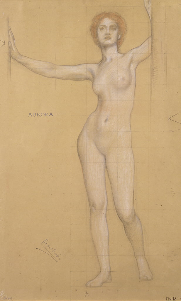 Aurora - Study for the Gates of Dawn (chalk on paper) by Herbert James Draper