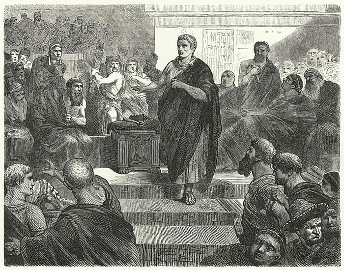 Sulla resigns as Dictator of Rome, 81 BC  by Hermann Vogel