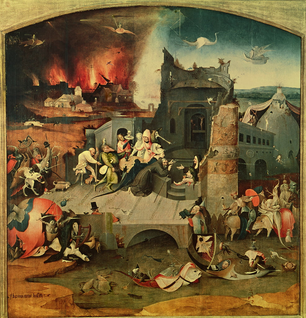 Central Panel of the Triptych of the Temptation of St. Anthony  (see 159327) by Hieronymus Bosch