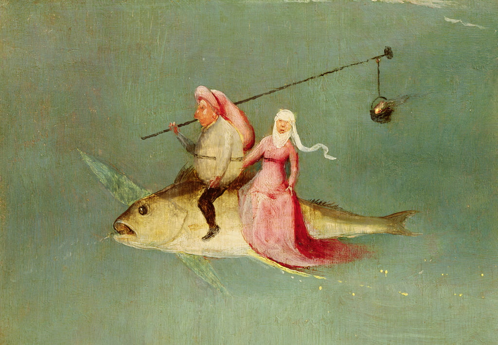 The Temptation of St. Anthony, right hand panel, detail of a couple riding a fish  (see 35965) by Hieronymus Bosch
