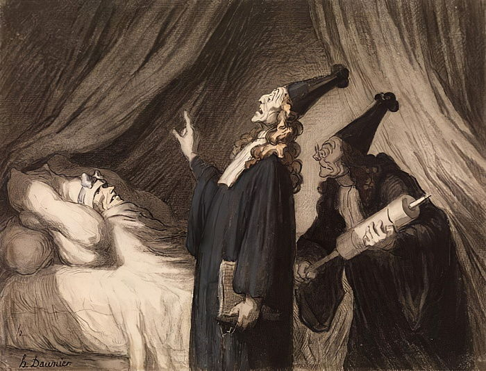 Le Malade Imaginaire, c.1850 (black chalk & wc on paper) by Honoré Daumier