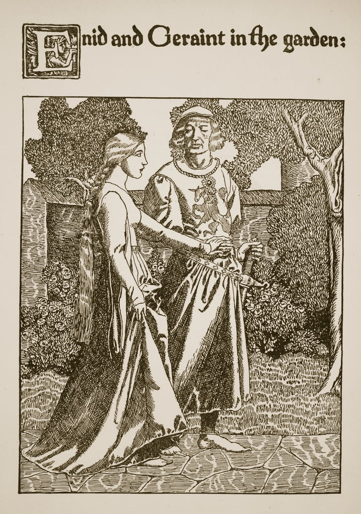 Enid and Geraint in the Garden, illustration from