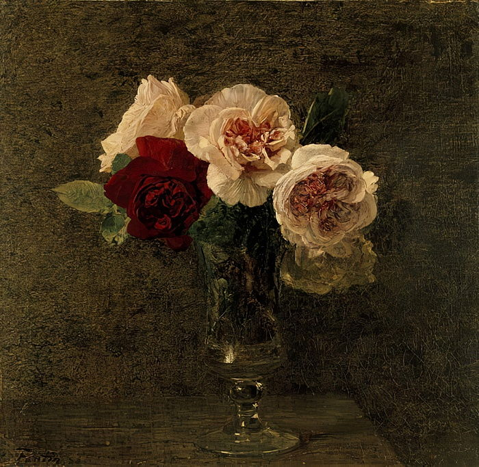 Still Life of Pink and Red Roses, 19th century  by Ignace Henri Jean Fantin Latour