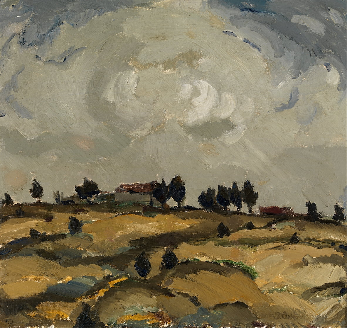Autumn landscape with clouds by Ilmari Aalto