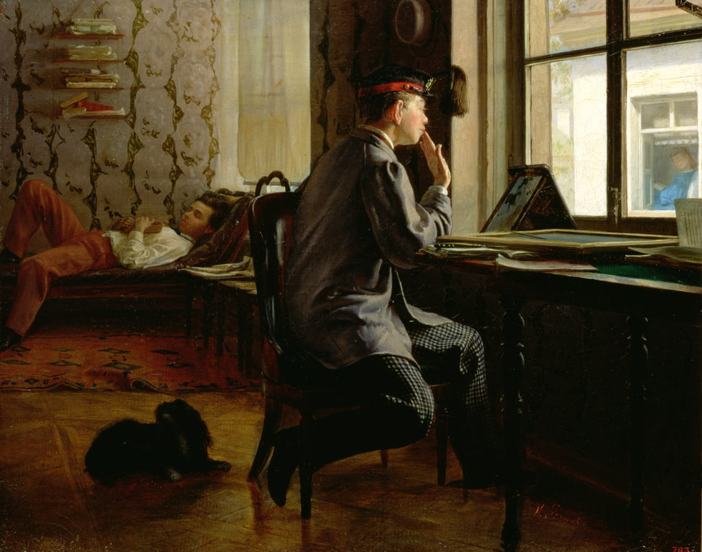 Preparing for Examinations, 1864  by Ilya Efimovich Repin