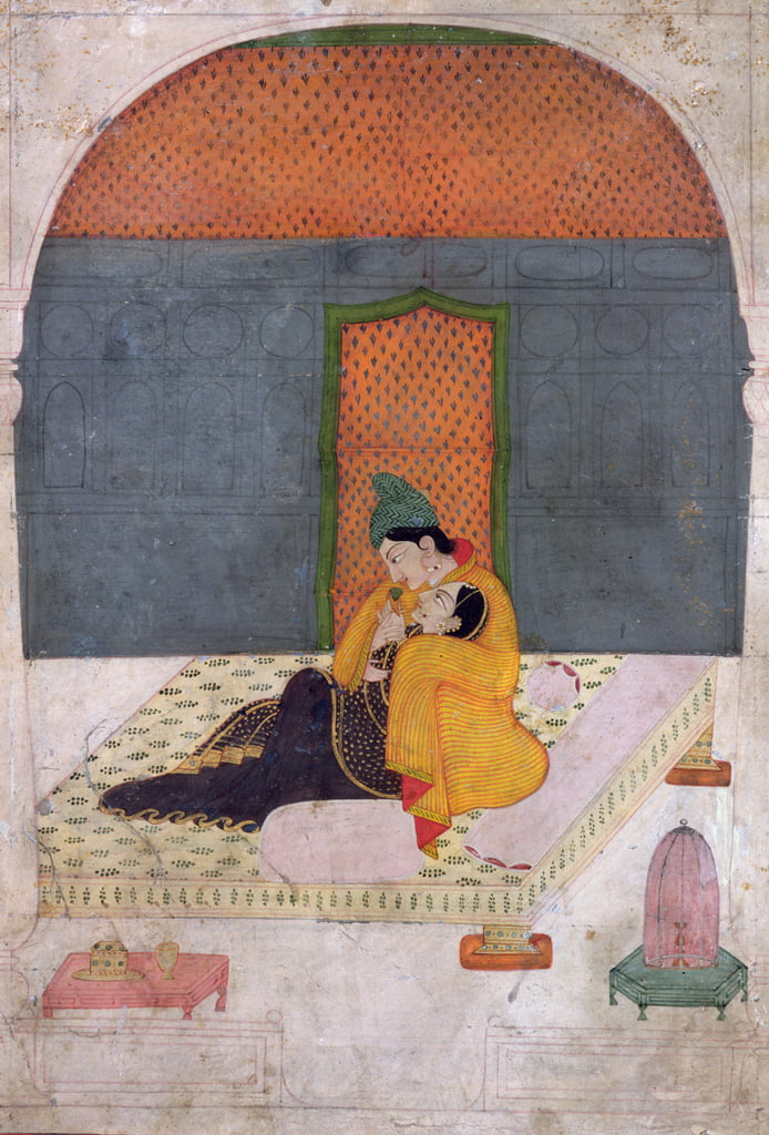 Lovers on a terrace, Garhwal, c.1780-1800  by Indian School