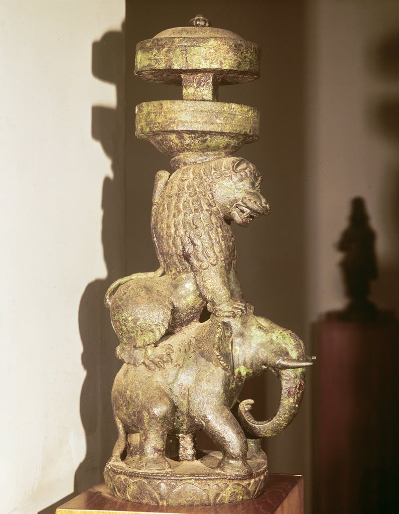 Sculpture of a lion mounted on an elephant, from Nalanda, Bihar, 9th-10th century (bronze) by Indian School