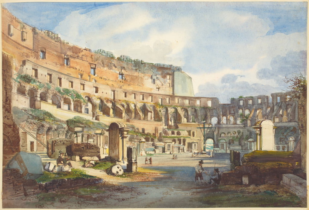 Interior of the Colosseum, watercolour and gouache over graphite on wove paper by Ippolito Caffi