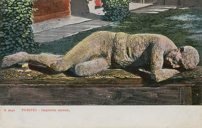 Frozen human in the museum at Pompeii. Postcard sent in 1913. by Italian Photographer