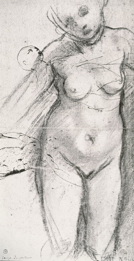 Knee Length Study of a Nude Woman by Jacopo Pontormo