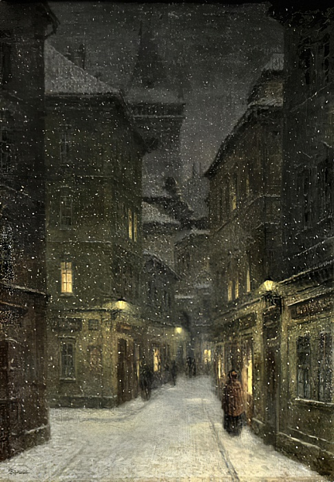 Street in the Evening Prague by Jakub Schikaneder