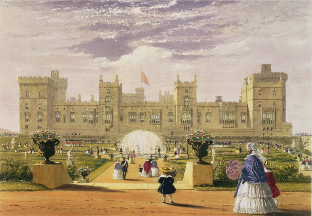 Eastern view of the Castle and Garden, Windsor Castle, 1838  by James Baker Pyne