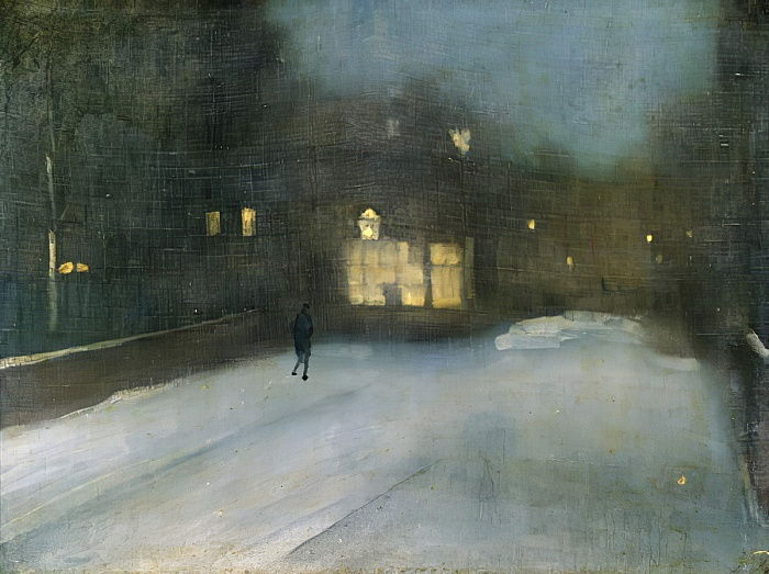 Nocturne in Grey and Gold: Chelsea Snow, 1876  by James Abbott McNeill Whistler