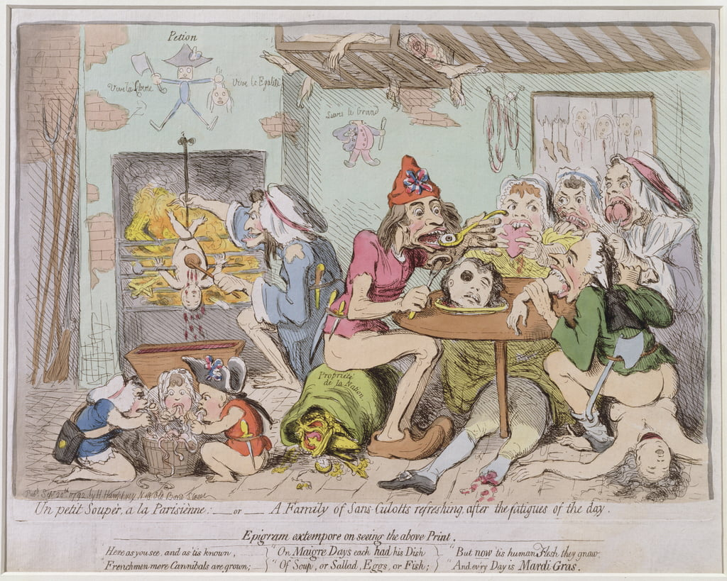 Un Petit Souper a la Parisienne, or A Family of Sans-Culottes Refreshing after the Fatigues of the Day, published by Hannah Humphrey in 1792 (hand-coloured etching) by James Gillray
