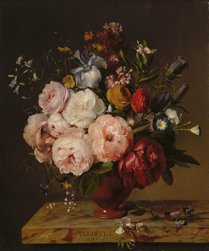 A Vase of Flowers on a Ledge, 1817  by Jan Frans van Dael